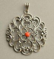 Large Vintage 835 Solid SILVER Red Coral Artisan Ornate Pendant