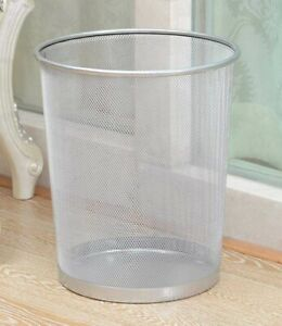 10'' Metal Mesh Silver Wire Bin Rubbish Paper Waste Home Office Bedroom Sturdy