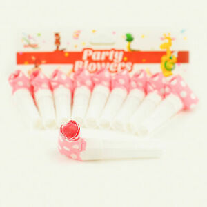10x Pink With White Polka Dot Party Blowers Blowouts Birthday Foil Noise Toy