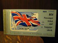 BEA 1955 Airplane Ticket - Vintage British European Airways Airline Passenger BE