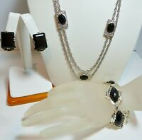 Vintage 1960's EMMONS Necklace, HOLLYCRAFT Crystal Earrings, Thermoset Bracelet