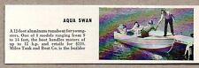 1959 Magazine Photo Aqua Swan Boats Aluminum Runabout Milco Tank Co.