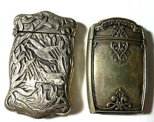 2 Antique Vintage Ornate Silver Tone Collectible Tobacco Match Safes -- 03-96