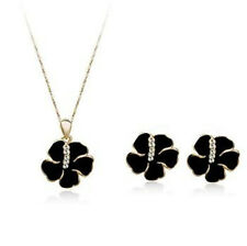 18K ROSE GP & CLEAR CUBIC ZIRCONIA & BLACK HIBISCUS NECKLACE & EARRING SET