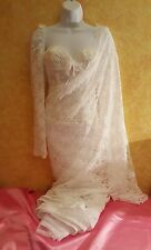 White Lace Pearl Corset Sari Saree Wrap Skirt Dress Bridal Wedding Gown