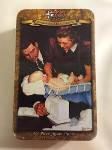 NEW SEALED Norman Rockwell Weighing Baby- 500 Pc Puzzle In A Tin By 1765 Jigsaw