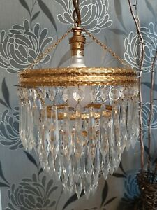Vintage 3 Tier Crystal Glass Waterfall Chandelier BHS