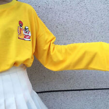 Women's Loose Long Sleeve Pop Harajuku Cartoon Yellow Top Shirt