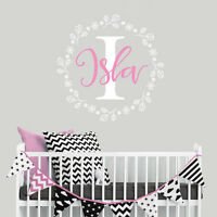 Personalised Baby Nursery Flower Circle Wall Sticker Decal Bedroom Girl Decor