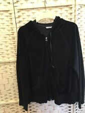Marks And Spencer Ladies Zipped Front Hoodie Black Velvet Look Size 18
