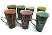 Vintage Plastic Thermal Tumbler Mugs Pastels Lattice Scrolls Lot of 7