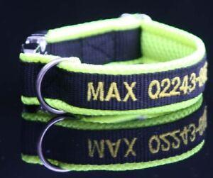 exclusives Halsband gelb schwarz bestickt mit Name Telefonnummer Hundehalsband