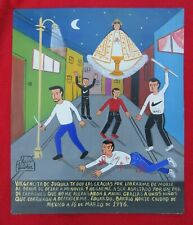 Luis Vilchis Man Survives Attack By Street Gang Painted Tin Retablo Ex Voto