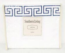 Southern Living Greek Key White Navy King Pillow Sham 20X36in New Nip $69.99