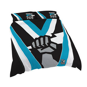 Adelaide Port Power AFL QUEEN Bed Quilt Doona Duvet Cover Set NEW 2021 Gift