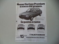 advertising Pubblicità 1982 TALBOT HORIZON PREMIUM
