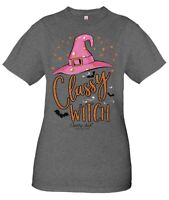 """Simply Southern Country Chick Co.Halloween Tee """"CLASSY WITCH"""" Sz.Lar..wGlitters"""