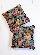 "Set Of 2 Vintage Floral Garden Decorative Tapestry Throw Pillows 16"" x 16"" Black"