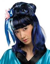 Black and Blue Dragon Lady Geisha Partial Updo Wig with Flower and Ribbons