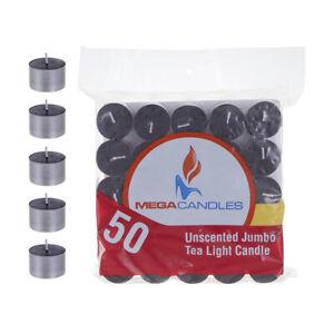 Mega Candles - Unscented Jumbo Tea Light Candles - Black, Set of 50 CGA105-BK