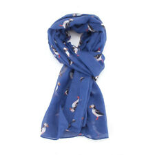 The Olive House® Womens British Puffin Sea Bird Scarf Blue