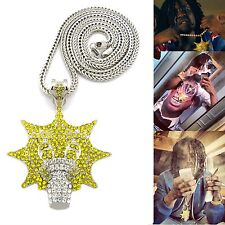 "NEW ICED OUT HIP HOP SILVER TONE CHIEF KEEF GLO GANG PENDANT W/ 36"" FRANCO CHAIN"