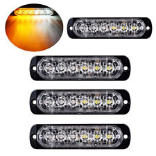4Pc Amber/White 6LED Car Truck Emergency Warning Hazard Flash Strobe Light