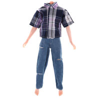 Clothes for  Boyfriend Ken Dolls T-shirt & Ripped Jeans Pants Trouser TO