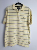 Ron Bennett Men's Short Sleeve Striped Yellow Polo Shirt Size L