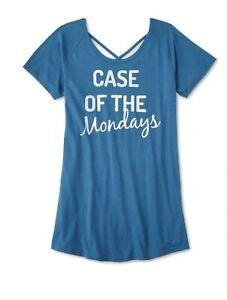 Joe Boxer Juniors Sleep Lounge Shirt 1X Case of Mondays Glitter Print Turquoise