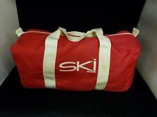 Vintage SKI MAGAZINE Duffle Tote Bag Red & White