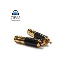 2x conectores Cinch-carbon 24k dorado-Premium RCA plugs-hasta 10 mm * gama alta