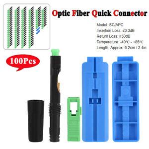 100Pcs SC/APC Optic Fiber Quick Connector Fiber Connecting Adapter Straight Plug