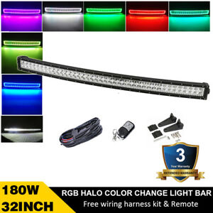 32inch 180W Curved Led Off road Light Bar with RGB halo Ring 7 Colors & Harness