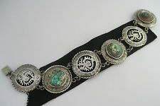 Vintage Taxco Mexico 925 Sterling Silver Bracelet Mop Mother of Pearl Abalone