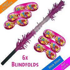 Pinata Buster 6x Blindfolds Stick bashing Smash Smashing Girls UK Theme New Pink