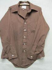 V6715 Arrow Collar Man Brown Polyester Button Up Shirt Men's 15.5 x 33