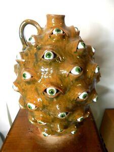 (marvin bailey eyeball ) face jug, pottery, folk art size 10'' x8''