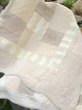 NEW Hamptons Full Double Bed Quilt Set Cottage Charm Embroidered Beige Patchwork