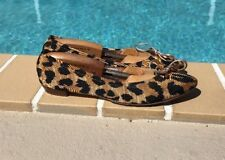 Casadei Leopard Fabric Print Round Toe Rose Gold Leather Bow Flat Ballet  Sz 37