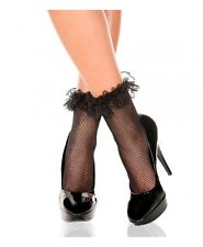 black ruffle lace fishnet ankle high socks pop socks one size