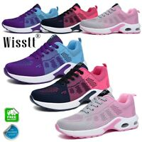 Women Air Cushion Breathable Lace Up Mesh Trainers Athletic Sneaker Sports Shoes