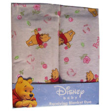 "SALE 2 Receiving Blankets Flannel 30""x30"" Baby Girl Pooh & Roses NEW REDUCED"