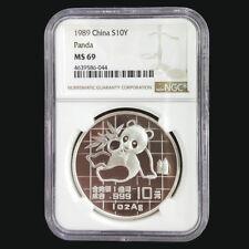 1989 China panda 1oz silver coin S10Y NGC MS69