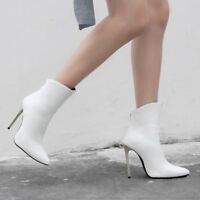 Womens Ankle Boots High Stiletto Heels Pointy Toe Zipper Casual Party Shoes Size
