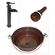 "15"" Round Copper BUCKET Vessel Bath Sink with ORB Faucet & LT Drain"