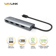 Wavlink Type-C 4 Port  Aluminum USB 3.0 Hub Power Adapter For PC Mac Air