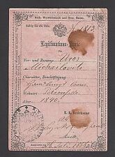 AUSTRIA HUNGARY Uros Michailovits ID CARD issued in  STARI BECEJ on 1858