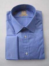 $195 NWT Ike Behar 120's 2ply Gold label Indigo Blue Dress Shirt 15.5 LS 34/35