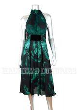 $3,990 GUCCI DRESS DEEPLY HUED LEAF PRINT SILK SLIT OPEN BACK sz IT 42 US 6